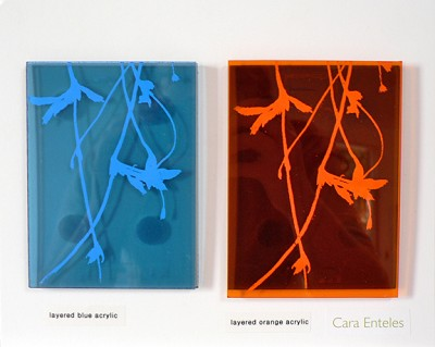 SAMPLE ( layered blue / layered orange acrylic) by Cara Enteles
