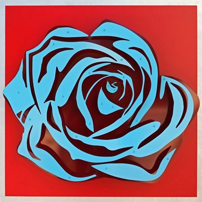 Rose - Blue on Red by  Kalish Editions