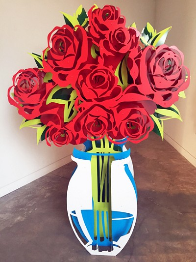 Large Vase of Roses - Painted