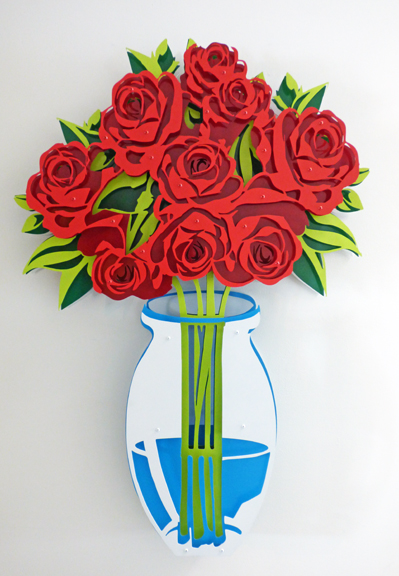 Small Vase of Roses - Painted