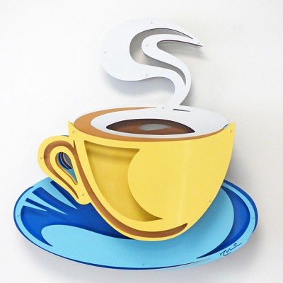 Coffee Cup - Yellow on Blue by  Kalish Editions