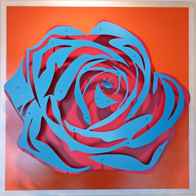 Rose - Blue on Coral