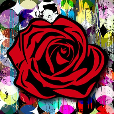 Red Rose on Circle Graffiti by Kalish Editions