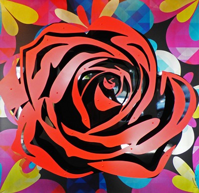 Red Rose on Kaleidoscope