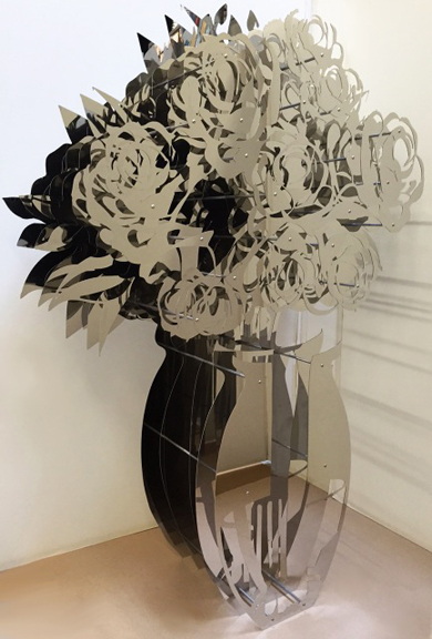 Vase of Roses - Mirrored Stainless 42