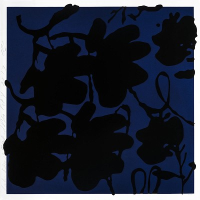 Lantern Flowers, Black and Blue