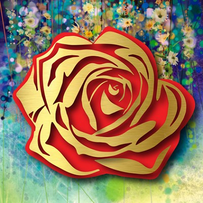 Gold Rose on Floral by  Kalish Editions