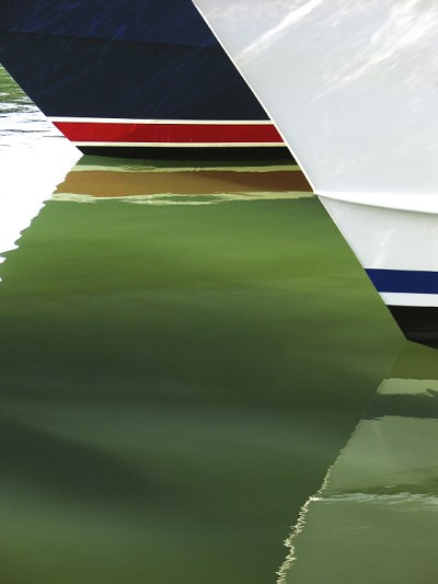 Boat Hulls Blue Red and White