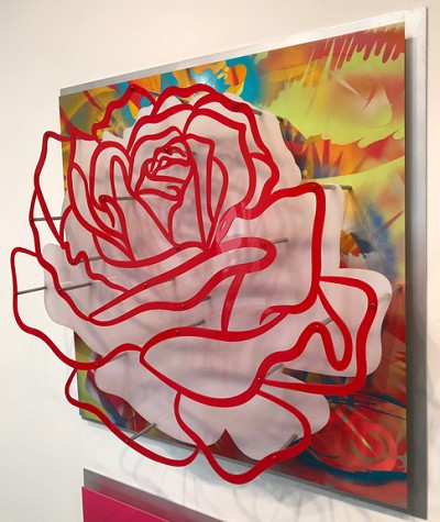 Acrylic Glass Rose - Red on Multicolor