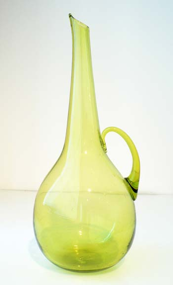 #968 Olive Green Chianti Style Decanter by Blenko Glass Company