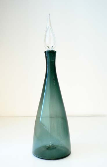 #920 Charcoal Decanter with Flame Stopper by  Blenko Glass Company