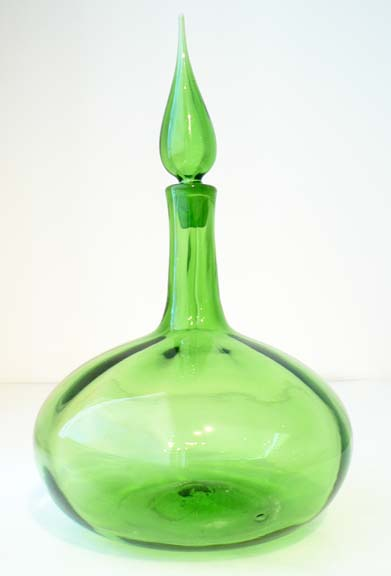 #6534M Olive Green Decanter by  Blenko Glass Company