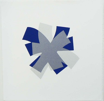 Untitled (cobalt/silver on white)